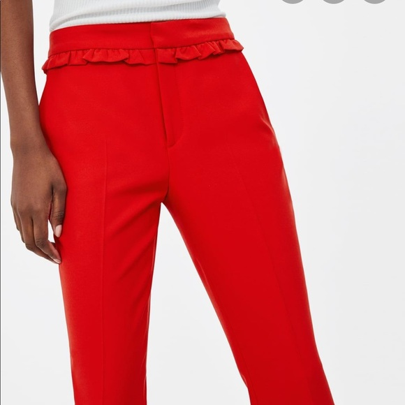 Red Zara trousers with ruffle detail
